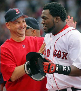 Red Sox manager Terry Francona celebrated with David Ortiz after the slugger came to the rescue yet again in extra innings.