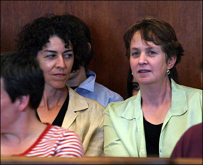 Mary Norton (left) and Wendy Backer of Providence want to marry in Massachusetts.