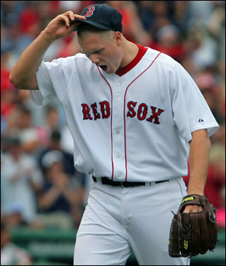 Red Sox closer Jonathan Papelbon showed his frustration after getting the last out in the top of the ninth inning.