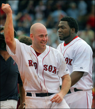 Kevin Youkilis celebrated on the field with a dance after the Red Sox victory.