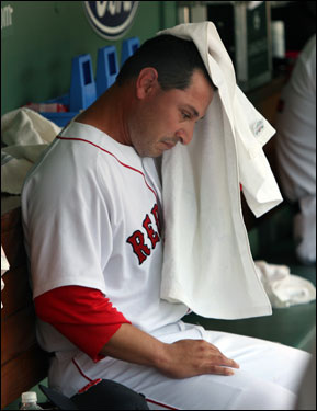 Rudy Seanez didn't last long in the seventh. The Red Sox reliever threw only nine pitches and gave up two hits without recording an out.