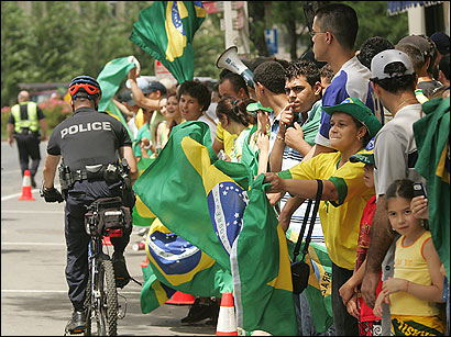 Soccer fans celebrated Brazil's victory over Ghana in the World Cup yesterday, as Framingham police patrolled the area.