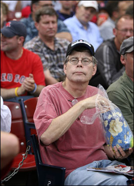 Writer Stephen King took in the game.