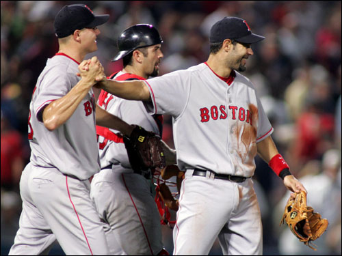 Jason Varitek hit a bases-clearing double to support Jon Lester in his first career win. Jon Papelbon (pictured) recorded the save.