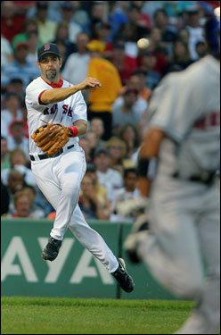 Red Sox third baseman Mike Lowell sailed as he threw out Endy Chavez.