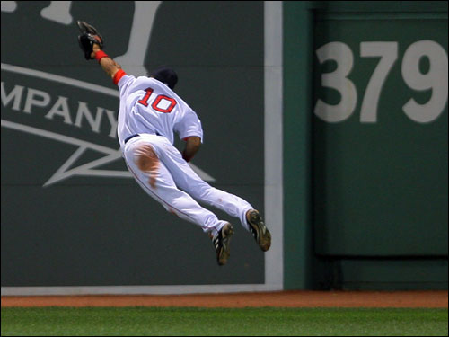Coco Crisp's eighth inning catch took away extra bases from David Wright and preserved the win for Curt Schilling.