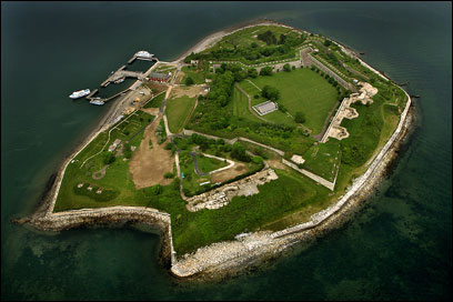 Once coastal protectors, many old forts, such as Fort Warren on Georges Island, serve now as recreational sites and local landmarks.