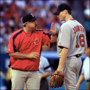 Newly acquired Red Sox pitcher Jason Johnson was roughed up early by the Marlins. He gave up five runs in four innings of work.