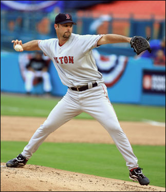Tim Wakefield started for the Red Sox and gave up three runs in 5 2/3 innings.