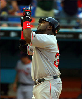 David Ortiz pointed skyward after his third-inning home run off former Red Sox prospect Anibal Sanchez.