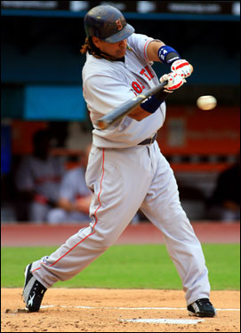 Manny Ramirez recorded the 2,000th hit of his career, a three-run home run, in the first inning.