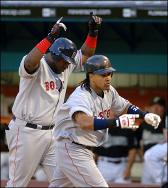 Manny Ramirez hit his second home run of the game, a two-run shot, in the sixth inning.