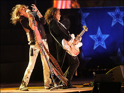 Steven Tyler and Joe Perry of Aerosmith performed at the Hatch Shell last night.