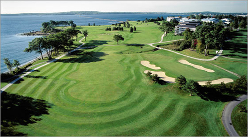 The oceanside golf course at the Samoset Resort Golf Club in Rockport, Maine, boasts a dramatic Atlantic panorama.