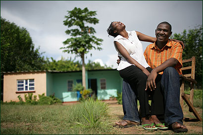 Loureen LiFunga and Hilary Hakayebe, both from families ravaged by AIDS, chose not to sleep together before their wedding in Zambia. Neither has HIV.