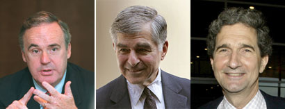 Chairman Philip W. Johnston, left, said the party needs to protect its nominees. Michael S. Dukakis, center, was the target of GOP attack ads in the 1988 presidential race. Cameron F. Kerry, brother of Senator John F. Kerry, will also serve on the committee.
