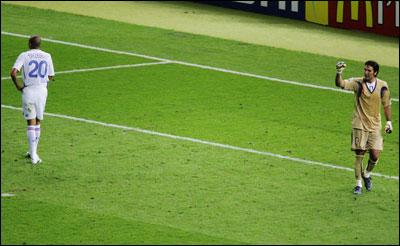 Gianluigi Buffon was pumped up after David Trezeguet hit the crossbar.
