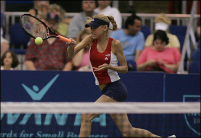 All eyes were on former Top 20 player Anna Kournikova during the two sets of World Team Tennis she played at Harvard.