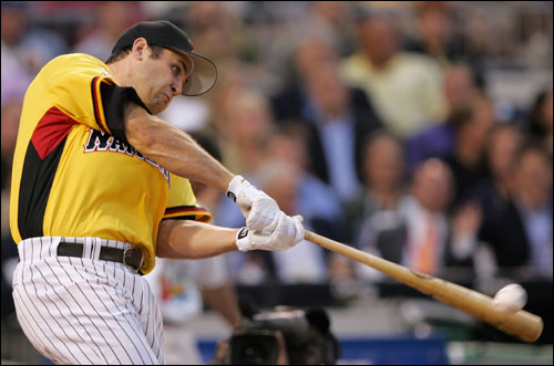 Lance Berkman kept his head down and drove a pitch into the water outside PNC Park in Pittsburgh. Berkman finished with three home runs.