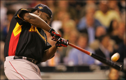 Big Papi deposited six baseballs into the river behind PNC Park, two on the fly and four on a bounce, to the crowd's delight.
