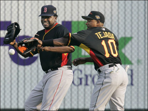 Miguel Tejada and Big Papi competed for a ball during warm ups prior to the Home Run Derby.