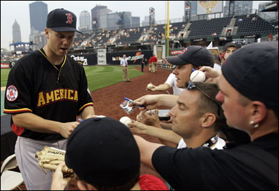 Given Jonathan Papelbon's high level of confidence since boyhood, those near the Red Sox rookie closer are not surprised to see him signing autographs during All-Star festivities at Pittsburgh.