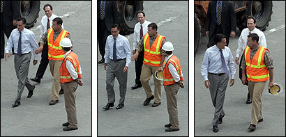 Governor Mitt Romney (left) and Matthew J. Amorello, chairman of the Massachusetts Turnpike Authority, exchanged words yesterday as they prepared to inspect a section of the Interstate 90 connector where concrete fell from a ceiling Monday night, crushing a car and killing a passenger.