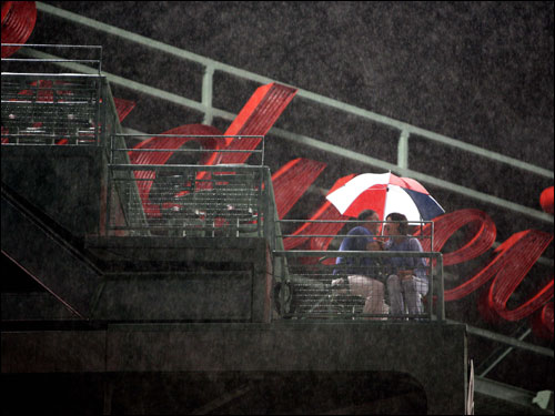 The bands were not the only ones stuck in the rain. Most of the fans were forced to deal with the weather as well.