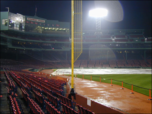 Fenway Park was soon drenched from the torrential downpours. The forecast for the rest of the night showed no let up.