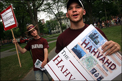 Students Daniel Schofield-Bodt (right) and Jordan Jones provide an alternative view of the Harvard experience as leaders of ''The Hahvahd Tour.'' The tour guides do not charge fees, but say they take in about $2,000 a week in tips.