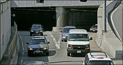 The Callahan Tunnel is among the most affected roadways as motorists struggle to get to Logan. The trip to the airport has doubled in duration since Monday.