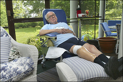 Art Buchwald on the back porch of his summer home on Martha's Vineyard.