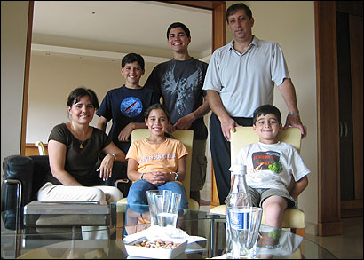 The Naim family of Brookline has been stranded in Beirut since Thursday, when they tried to get to the airport just before Israel bombed it. From left to right, front row, are: Jeannette Luna Naim, 42, Paola, 11, and Daniel, 7. In the back are: Gabriel, 12, Sami, 17 and Wadih, 48.