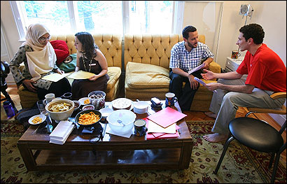 From left, Siama Muhammed of Newton, Margie Klein of Brookline, Hossam Aljabri of Randolph, and Gabriel Sliverman of Allston were part of an interfaith group meeting to discuss their religions at Brookline's Moishe House.