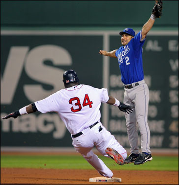 David Ortiz slid safely into second base with an eighth inning steal as Royals shortstop Tony Graffanino jumped to make the catch.