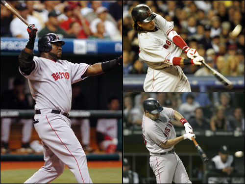 Haren will have to be careful with the middle of the Red Sox lineup. David Ortiz (left), Manny Ramirez (top right), and Mike Lowell (bottom right), the Red Sox 3-4-5 hitters, are a combined 10 for 19 against him.