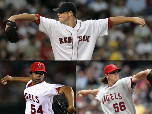 The most intriguing subplot of the series may be the emergence of three young pitching prospects on both teams.These young pitchers are major reasons for the success of their respective ball clubs. Jon Lester (top) is 5-0 as a starting pitcher for the Red Sox. As of July 18 opponents are hitting .176 against Lester with runners in scoring position, .118 with RISP and two outs. On the other side, Jered Weaver (bottom right) is 6-0 with a 1.12 ERA in his first six major league starts. Ervin Santana (bottom left) is 11-3 on the season and hasn't lost since May.