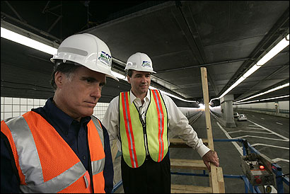 Governor Mitt Romney and Secretary of Transportation John Cogliano looked over replacement bolts yesterday in the I-90 connector tunnel.