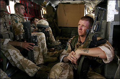 British paratroopers and engineers traveled by helicopter in Afghanistan's Helmand Province, where fighting with Taliban forces has intensified.