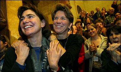 Julie and Hillary Goodridge attended a gay marriage rally held at the State House on Feb. 20, 2004. They married that May.