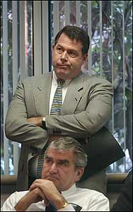 Turnpike Authority Chairman Matthew J. Amorello (standing) at the Big Dig hearing at the State House in 2002.