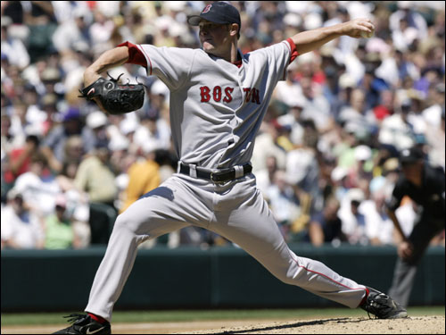 Rookie Jon Lester, who was 5-0 on the season entering Sunday's game, started for the Red Sox against Seattle.