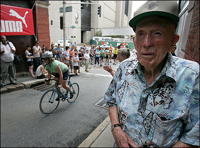 Francis ''Jesse'' Owens, 95, of Worcester, spoke of Major Taylor as racers competed in time trials.