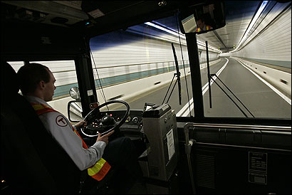 Jason Demasi drove a Silver Line MBTA bus through an empty Ted Williams Tunnel. Only MBTA's Silver Line and Massport's Logan Express buses have access to the eastbound tunnel.