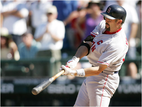 With the Red Sox down one run and down to their final out, Jason Varitek belted a solo home run to tie the game, 8-8.