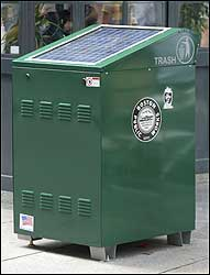 Solar-powered, self-compacting trashcans