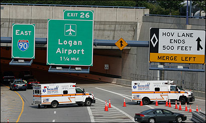 Two ambulances involved in getting a Stoughton man from Logan Airport to Boston Medical Center exited the Ted Williams tunnel via an onramp with a State Police escort yesterday.