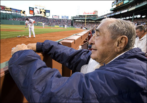 Arthur D'Angelo sits in his seat at Fenway Park.