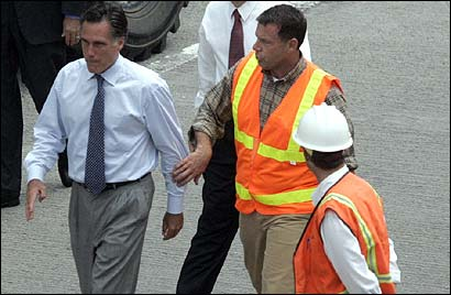 Turnpike chairman Matthew J. Amorello received a cold response from Mitt Romney the day after the ceiling collapse, as the governor arrived to inspect the tunnel.