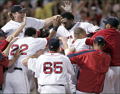 If David Ortiz walkoff homers are becoming routine, you couldn't tell it from the reaction ofhis teammates.